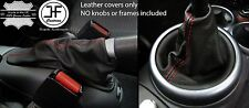 RED STITCH REAL LEATHER GEAR & HANDBRAKE GAITER FITS MINI COOPER S ONE 01-06