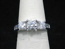 14k White Gold 1.80ctw Round Brilliant  3 Diamond Engagement/Anniversaty Ring
