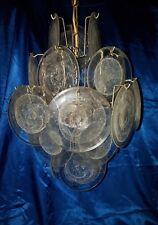 Mazzega Vistosi Murano Glas Deckenlampe 70er  Clear Glass Disk Chandelier