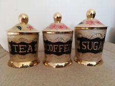 VINTAGE BRASS SET OF 3 TEA COFFEE SUGAR STORAGE ENAMELLED JARS SET NEW