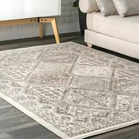 nuLOOM Transitional Vintage Geometric Tiles Area Rug in Beige, Ivory