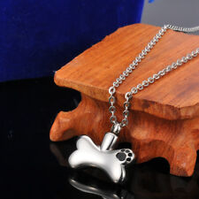 Steel My Dog Bone Cremation Jewelry Pet  Ashes Keepsake Memorial Urn Necklace