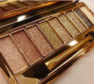 Diamond Eye Shadow Palette 9 Shades Glitter Make up Waterproof Golden Alloy Case
