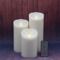 Luminara Flameless Led Candle Vanilla Scented White Wax Pillar Battery Operated