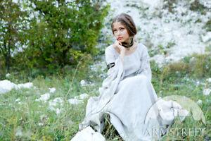 "White Medieval Linen Chemise ""Archeress"", SIZE 8, white color"