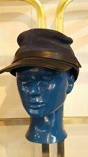 Vintage Civil War Reenactment Cosplay Leather Suede Visor Hat Cap