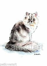 PERSIAN BEAUTY CAT   ACEO Art  Card Print by A Borcuk