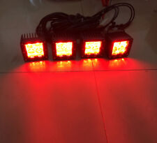 "4x 3"" Red/White/Strobe 4D Led Work Light Spot Pods Offroad Fog Warning Emergency"