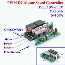 DC 10-55V 12V 24V 48V 30A PWM DC Motor Speed Controller CW CCW Reversible Switch