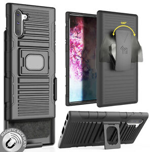 Black Rugged Grip Case with Stand + Belt Clip Holster for Samsung Galaxy Note 10