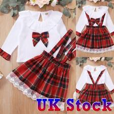 Toddler Kids Baby Girls Dress Clothes Bowknot Shirt Tops Skirt Xmas Outfits Set