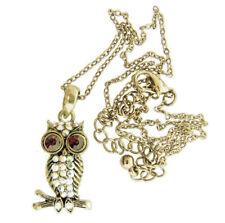 Red and Aurora Borealis Crystal Rhinestone Owl Charm Pendant Necklace
