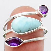 Larimar (Dominican Republic) and Amethyst 925 Silver Ring s.8 Jewelry 1587