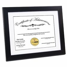 CreativePF [11x14bk-w] Black Document Frame Displays 8.5 by 11-inch with Mat or