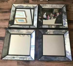 "EUC Set of 4 Crate and Barrel 19.5"" Dubois Square Wall Mirrors Antique"
