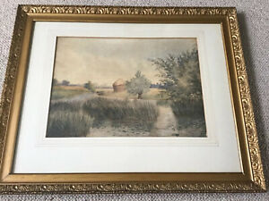 Artist W Freeman Early C20th Framed Watercolour Countryside With Haystack & Lake