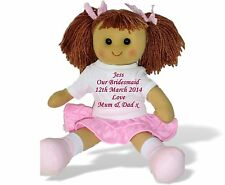 Personalised Large Rag Doll Bridesmaid Flower Girl Wedding Gift Embroidered