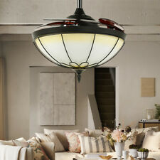42 Inch Vintage Ceiling Fan Lights Chandelier Fan Remote, Retractable 5 Blades