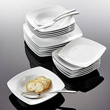 18X Porcelain Service Set China Dessert Soup Dinner Plates Cream White JULIA