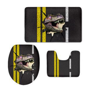 Dinosaur Print Home Bathmat 3Pcs Soft Pedestal Mat Toilet Lid Cover Large Mats