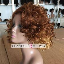 Women's Short Bob Ombre Blonde Full Wigs Wavy Synthetic Hair Wig Heat Safe UK