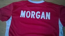 Football sports set personalized with name MORGAN 6 years / 134 cm in red white