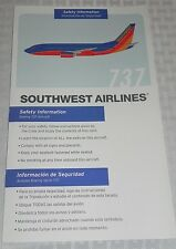 Southwest Airlines Boeing 737 Safety Information Card Revised 12/07