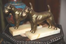 Vintage Airedale Irish Terrier Scottie Bookends Solid Brass Marble Onyx Base