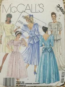VTG 1970s 80s McCalls V Neck Gown Or Dress In 5 Versions Size 12 Bust 34