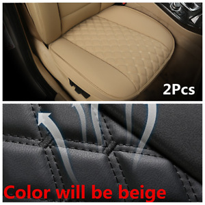 Car Front Cushion Beige Leather Protector Cover Auto Interior Accessories 2Pcs