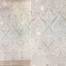 "Stunning Embroidery Bridal Lace Fabric 57"" Floral Beaded Wedding Lace Fabric 1 Y"