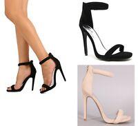 Qupid Classic Ankle Strap Open Toe Dress Heel #Diamond-32