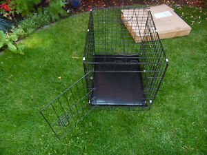 SMALL Double-Door Folding Metal Dog Crate, Black, 24Inch Pull Out Pet Cage