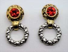 Red Cz color Dangle Post Earring A165 Unique design style rhodium gold plate