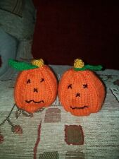 2 x Hand Knitted Halloween Pumpkin Chocolate Orange Covers New
