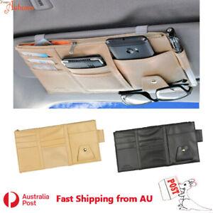 Car Large Sun Visor Organizer Sunglasses Holder Card Storage PU Leather Pouch