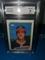 GMA 8 NM-MINT~1989 Topps John Smoltz #382 ROOKIE CARD-HOFer-BRAVES! CLASSIC RC🔥
