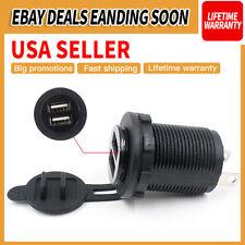 12V-24V Car Cigarette Lighter Socket Dual 2.1A USB Port Charger Power Outlet US
