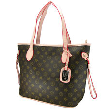 womens shopper handbag monogram imprint brown shoulder bag satchel handheld bag