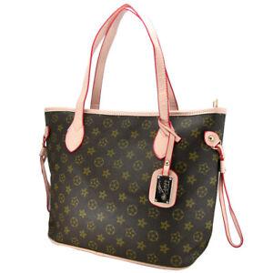 womens shopper handbag monogram imprint brown shoulder bag satchel handheld bag