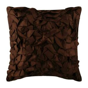 Pillow Cover Dark Brown 20x20 inch Decorative, Satin Ruffles - Vintage Browns