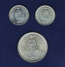 SWITZERLAND 1957 2 FRANCS, 1961 & 1965 1/2 FRANC SILVER COINS, UNCIRCULATED (3)
