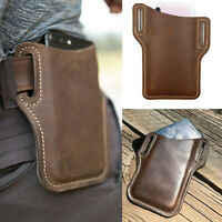 Larger Men Phone Belt Pack Bag Loop Waist Holster Pouch Case Genuine Leather