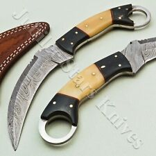 HANDMADE DAMASCUS STEEL HUNTING/BOWIE/KARAMBIT KNIFE WITH BONE AND HORN HANDLE
