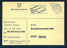 SWITZERLAND - SVIZZERA - 1977 - Cartolina Post. militare - Da  Zurigo a Glarus