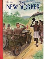 1944 New Yorker Cover- May 27 - Morning salutations in the New Hebrides - Barlow