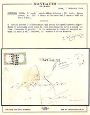 Sardegna 1862 5 + 10 c. - Busta da Pisa Muto - Punti 12 - Certificato - ASI007