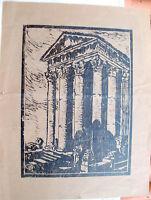 1925 XILOGRAFIA INEDITA DI GIUSEPPE TALAMONI DI MONZA CON TEMPIO E ROVINE
