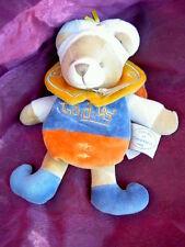 Doudou et compagnie OURS indidou bleu orange jaune accroche tetine 19cm cape