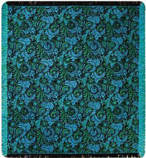 Amaya Paisley Green/Turquoise/Black Tapestry Afghan Throw